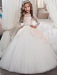 cheap -Princess Long Length Flower Girl Dress - Lace / Tulle Long Sleeve Jewel Neck with Bow(s) / Crystals / Lace by LAN TING Express