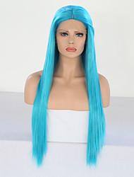billige -Syntetisk blonder foran parykker Silke Rett Blå Midtdel Himmelblå Syntetisk hår 24 tommers Dame Justerbar / Varme resistent / Fest Blå Parykk Lang Blonde Forside