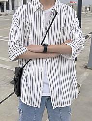 זול -חולצה רופפת גברים - צווארון חולצת פסים