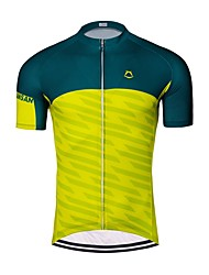 お買い得  -男性用 半袖 サイクリングジャージー - 緑 / イエロー バイク ジャージー トップス 速乾性 スポーツ ポリエステル100% マウンテンサイクリング ロードバイク 衣類 / 伸縮性あり