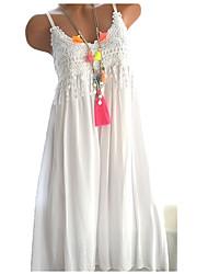 Недорогие -Жен. Кружева Шифон Платье - Однотонный, Кружева На бретелях Средней длины / Большие размеры