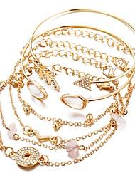 tanie -6 szt. Damskie Wielowarstwowy Zestaw bransoletek Elegancki Modny Bransoletki Biżuteria Złoty Na Prezent Ulica