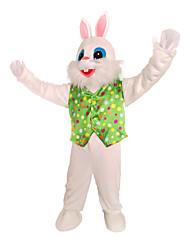 billige -Rabbit Mascot påskeharen Cosplay Kostumer سترة Barne Voksne Herre Ett Stykke Cosplay Påske Festival / høytid Polyester Hvit / Grønn Karneval Kostumer Polkadotter Lapper