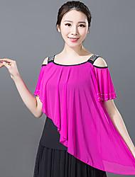 저렴한 -볼륨 댄스 상의 여성용 트레이닝 / 성능 폴리에스테르 루시 주름 장식 / 크리스탈 / 라인석 짧은 소매 탑