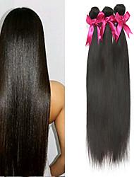 billige -3 Bundler malaysisk hår Lige Ubehandlet Menneskehår Menneskehår, Bølget gaver til tefesten Bundle Hair 8-28 inch Naturlig Farve Menneskehår Vævninger Lugtfri Blød Silkeagtig Menneskehår Extensions