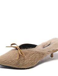 ราคาถูก -สำหรับผู้หญิง ขนเทียม ฤดูใบไม้ผลิ รองเท้าไม้ & รองเท้าหัวทู่ ส้น Stiletto สีดำ / Almond