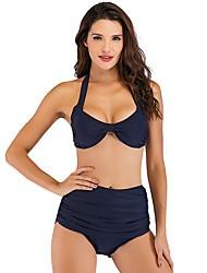 cheap -Women's Basic Blue Black Red Bikini Swimwear - Solid Colored S L XL Blue
