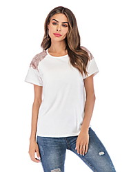 billiga -kvinna eu / us storlek t-shirt - solidfärgad rund hals