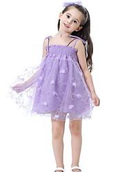 Χαμηλού Κόστους -Παιδιά Κοριτσίστικα Μονόχρωμο Κεντητό Ως το Γόνατο Πολυεστέρας Φόρεμα Ανθισμένο Ροζ