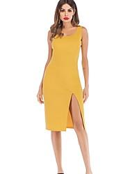 cheap -Women's Basic Bodycon Dress - Solid Colored Split Yellow M L XL