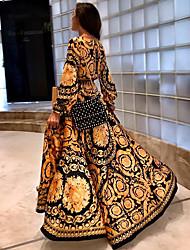 Недорогие -А-силуэт Погруженный декольте В пол Тафта Платье с Узоры / принт от LAN TING Express