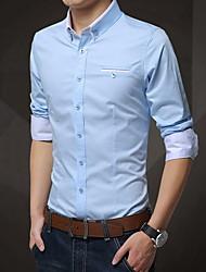 olcso -férfi plusz méretű vékony póló - tömör színű ing gallér