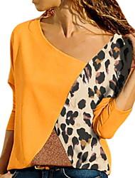 Недорогие -Жен. Блуза V-образный вырез Тонкие Контрастных цветов Синий