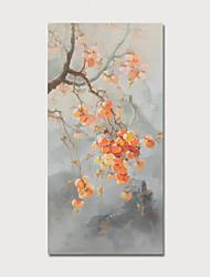 olcso -Hang festett olajfestmény Kézzel festett - Virágos / Botanikus Modern Tartalmazza belső keret