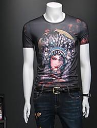 お買い得  -メンズコットンスリムTシャツ - ラウンドネックの肖像