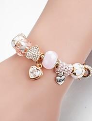 baratos -Mulheres Pulseiras com Miçangas Coração Estiloso Clássico Pulseiras Jóias Dourado Para Diário
