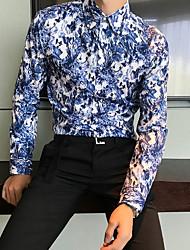 저렴한 -남성 슬림 셔츠 - 기하학적 클래식 칼라
