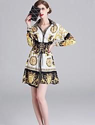 Χαμηλού Κόστους -Γυναικεία Βίντατζ Κομψό Θήκη Φόρεμα - Γεωμετρικό, Peplum Στάμπα Πάνω από το Γόνατο