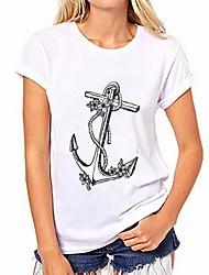 billige -Kvinders eu / us størrelse t-shirt - grafisk rund hals