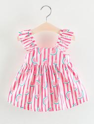 Недорогие -малыш Девочки Богемный Фрукты С принтом Без рукавов Платье Розовый