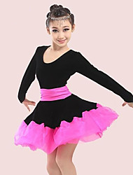 abordables -Baile Latino / Ropa de Baile para Niños Vestidos Chica Entrenamiento / Rendimiento Poliéster / Malla / Pleuche Cinta / Lazo / Volantes en Cascada / Combinación Manga Larga Vestido
