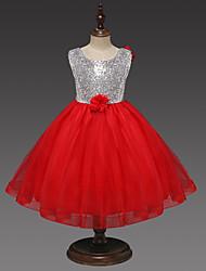 cheap -Kids / Toddler Girls' Sweet / Cute Patchwork Sequins / Patchwork Sleeveless Knee-length Dress Pink