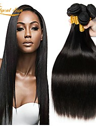 tanie -6 pakietów Włosy peruwiańskie Prosta Zestawy w 100% Remy Weave Nakrycie głowy Fale w naturalnym kolorze Pakiet włosów 8-28 in Kolor naturalny Ludzkie włosy wyplata Bezzapachowy Miękka Jedwabisty