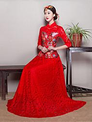 billige -Voksne Dame Designet i Kina Kinesisk Stil Wasp-innsnevrede Cheongsam Til Ytelse Forlovelsesfest Utdrikningslag Nylon Tactel Lang Lengde Cheongsam