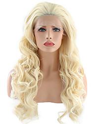 Недорогие -Синтетические кружевные передние парики Волнистый Стиль Свободная часть Лента спереди Парик Блондинка Отбеливатель Blonde Искусственные волосы 24 дюймовый Жен. / Жаропрочная / Жаропрочная / Да