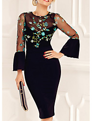 cheap -Women's Elegant Sheath Dress - Floral Mesh Black M L