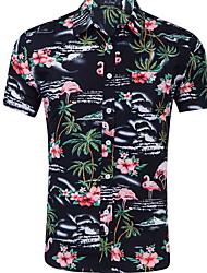 olcso -férfi vékony póló - virágos ing gallér