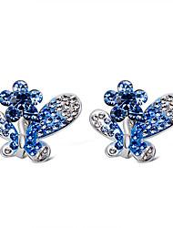 ราคาถูก -สำหรับผู้หญิง ล้าง สีน้ำเงิน คริสตัล ต่างหูคลิป เลียนแบบเพชร ต่างหู Butterfly Stylish อินเทรนด์ สไตล์น่ารัก เครื่องประดับ สีเงิน สำหรับ การหมั้น งานราตรี เป็นทางการ 2pcs