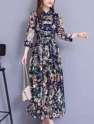 cheap -Women's Elegant Swing Dress - Floral Navy Blue Wine XL XXL XXXL