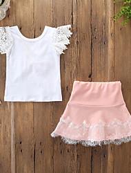 billige -Baby Pige Aktiv / Basale Ensfarvet / Blomstret Blonder / Sløjfer Uden ærmer Normal Bomuld / Spandex Tøjsæt Hvid