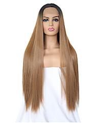 Χαμηλού Κόστους -Συνθετικές μπροστινές περούκες δαντέλας Μεταξένια Ίσια Καφέ Μέσο μέρος Μαύρο / Medium Auburn Συνθετικά μαλλιά 24 inch Γυναικεία Ρυθμιζόμενο / Ανθεκτικό στη Ζέστη / Γυναικεία Καφέ Περούκα Μακρύ
