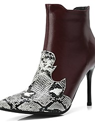 Недорогие -Жен. Полиуретан / Змеиная кожа Наступила зима На каждый день Ботинки На шпильке Заостренный носок Ботинки Черный / Вино
