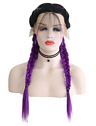 cheap -Synthetic Lace Front Wig Matte Purple Middle Part Black / Purple Synthetic Hair 24 inch Women's Adjustable / Heat Resistant / Women Purple Wig Long Lace Front