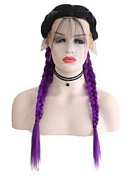Недорогие -Синтетические кружевные передние парики Матовое стекло Фиолетовый Средняя часть Черныйлиловый Искусственные волосы 24 дюймовый Жен. Регулируется / Жаропрочная / Женский Фиолетовый Парик Длинные