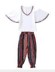 tanie -Dzieci Dla dziewczynek Boho / Moda miejska Prążki / Patchwork Nadruk Rękaw 1/2 Regularny Poliester Komplet odzieży Biały