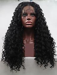 저렴한 -합성 레이스 프론트 가발 아프리카 킨키 / 물결 스타일 레이어드 헤어컷 전면 레이스 가발 블랙 블랙 인조 합성 헤어 24 인치 여성용 여성 블랙 가발 긴 Sylvia 130 % 인간의 머리카락 밀도