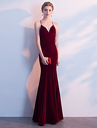 cheap -Mermaid / Trumpet V Neck Floor Length Velvet Bridesmaid Dress with Bandage by LAN TING Express