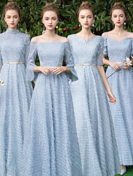 cheap -A-Line V Neck Floor Length Lace Bridesmaid Dress with by LAN TING Express