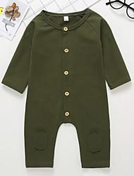 baratos -bebê Para Meninos Activo / Básico Sólido Manga Longa Algodão Peça Única Verde Tropa
