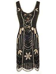 זול -עד הברך פאייטים ניטים רקום, גיאומטרי - שמלה נדן בסיסי בגדי ריקוד נשים