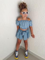 tanie -Dzieci / Brzdąc Dla dziewczynek Aktywny / Podstawowy Solidne kolory Z baskinką / Łuk Krótki rękaw Bawełna / Spandeks Komplet odzieży Niebieski