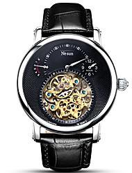 Недорогие -nesun Муж. Нарядные часы С автоподзаводом Натуральная кожа Черный / Коричневый 30 m Защита от влаги Фосфоресцирующий Аналоговый На каждый день Мода - Белый Черный / Нержавеющая сталь
