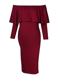 tanie -Damskie Moda miejska Pochwa Sukienka - Solidne kolory Nad kolano