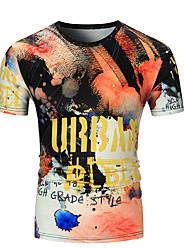 baratos -Homens Camiseta Geométrica / Letra Decote Redondo
