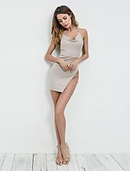 preiswerte -Eng anliegend Spaghetti-Träger Kurz / Mini Jersey Kleid mit durch LAN TING Express