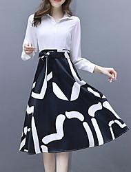رخيصةأون -المرأة بطول الركبة نحيل خط اللباس قميص طوق أبيض أسود ق م ل xl
